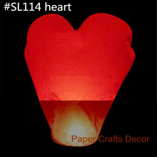 50pcs/lot Heart Shaped Biodegradable Flame Retardant Paper Flying Sky Lanterns Wedding Party Celebration
