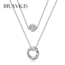 BRAVKIS double layer chain necklace crystal for women rhinestone charm necklaces pendants choker colar mujer jewelry BUN0119B