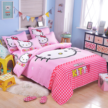 Cartoon 3d Bedding Set Hello Kitty Pikachu Printed for Kids Cotton Bed Linen 3/4pcs Duvet Cover Bed Sheet Pillowcases Bedclothes(China)