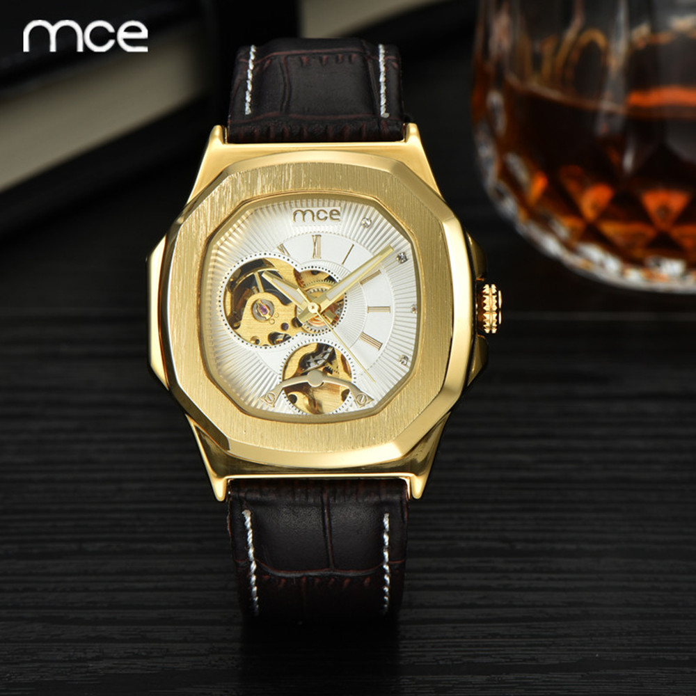MCE Top Luxury Brand Men Mechanical Watch Waterproof Leather Mens Skeleton Casual Wrist watches for men Relogio Masculino 2016<br><br>Aliexpress