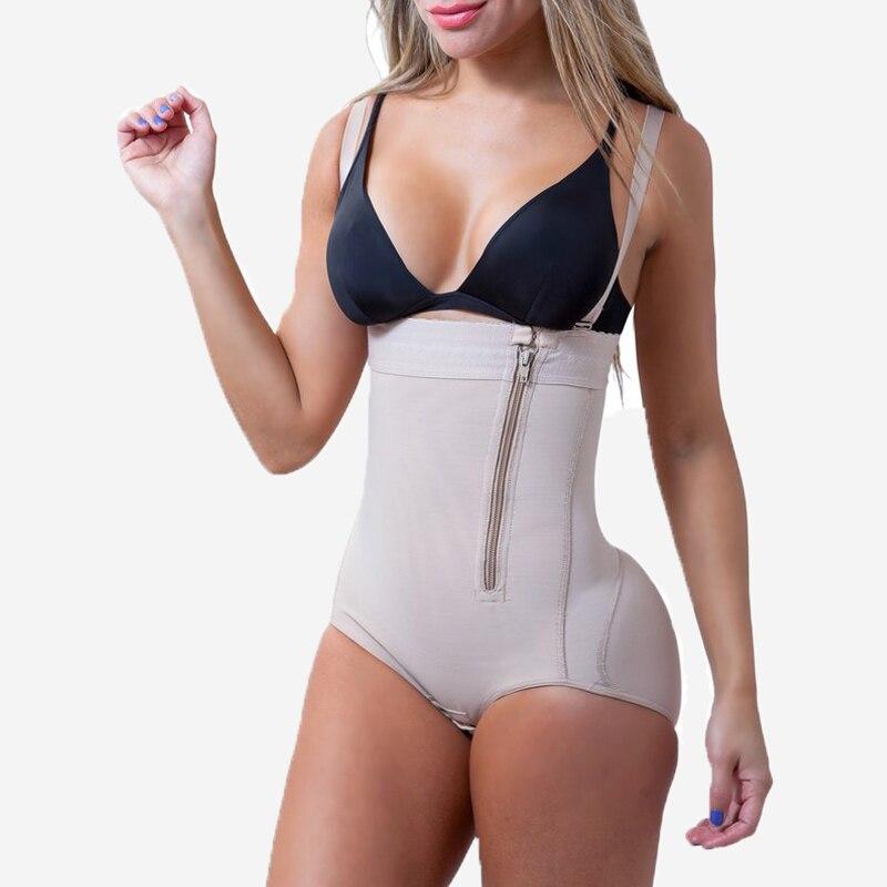 Plus-Size-Hot-Latex-Women-s-Body-Shaper-Post-Liposuction-Girdle-Clip-and-Zip-Bodysuit-Vest_