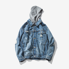 2017 Mens Denim Jacket Coat Single Breasted Loose Fit Blue Big Men Hip Hop Ripped Jeans Jackets Hoodies Cowboy Plus Size 3XL(China)