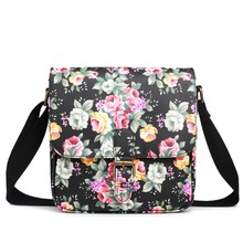 Ladies girl classic style satchel flower oilcloth printed cloth messenger bags satchels adorable square cross body bags