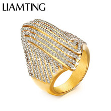 LIAMTING Hot Sale Big 24K Gold Ring 316L Stainless Steel Ring With Full Cubic Zirconia For Women Fashion Fine Ring Jewelry DE020