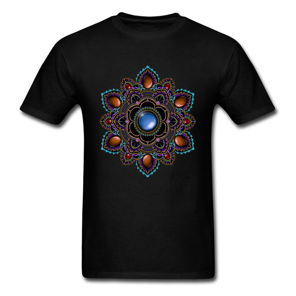Printed On Tops Tees Cheap O-Neck Comics Short Sleeve Cotton Man T Shirts Customized T Shirt Drop Shipping Purple and Teal Mandala with Gemstones 15622 black