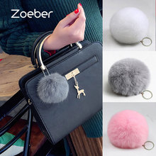 Zoeber New Artificial Rabbit Fur Ball Keychain Cute Pompom Key Ring Lovely Fluffy Fur Rabbit Ear Pendant Keychain Rings women(China)