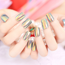 Yunail Fashion 24pcs Long Fake Nails Multiple Color Reflective Mirror Full unhas Square Christmas Nail Decoration