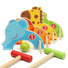 Baby Mini Golf Toy Cartoon Wood Croquet Sports Game Animal Gate Ball Toys Children Family Games Outdoor Indoor for Kids