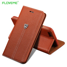 FLOVEME Business Flip Leather Case For iPhone 6 Plus 6S Plus Wallet Holster Card Slot Phone Cover Bags For iPhone 7 7 Plus Brown
