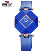 Real Ceramic 2017 New Blue Star Jewelry Watch Fashion Gift Table Women Watches Jewel Gem Cut Black Surface Geometry Wristwatches
