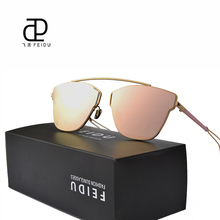 FEIDU Women Sunglasses Summer Style Celebrity Same Paragraph Sunglasses Cat eye Pierced Metal Temples Coating Flat Panel Lens(China)