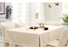 Solid natural Japanese Mediterranean table cover yellow tablecloth lace simple fabric zakka round square linen beige