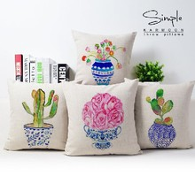 Contemporary and contracted watercolor flowers plant cotton pillowcase car sofa cushion for leaning on of 43 * 43 No Inner