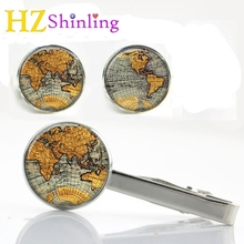 2017 New World Map Clips & Cufflinks Set Map Cufflink Silver Round Glass Tie Clip Handmade Cuff links Gifts For Friends CT-0023