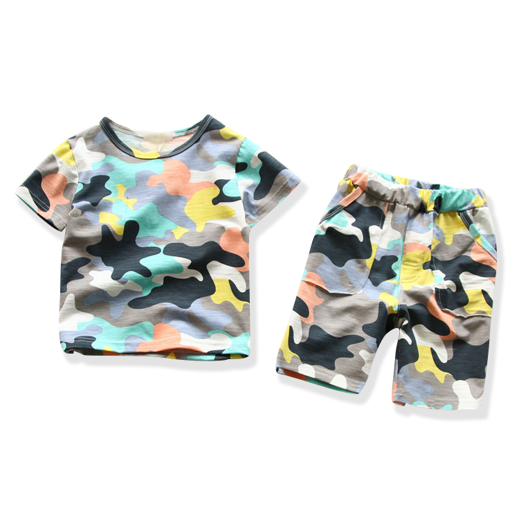 2016 fashion summer children boutique clothing sets for kids boy camouflage cotton short sleeved t shirts camo shorts pants sets<br><br>Aliexpress