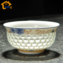 Exquisite Tea Cups,High Quality Chinese style blue and white porcelain cup,hollow honeycomb design(China)
