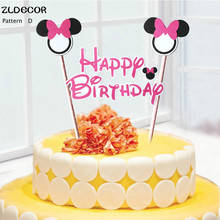 ZLDECOR Mickey Minnie Mouse Cake Topper for Happy Birthday Party Decoration Supplies Baby Shower Party Decoration Can Be Written