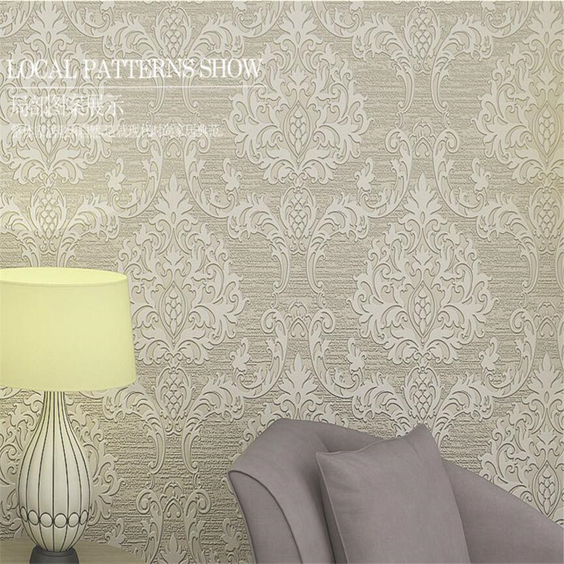 Beibehang 3D Continental Damascus Wallpaper Embossed Stereo Embossed Wallpaper Home Furnishings Living Room 3d Wallpaper roll<br>