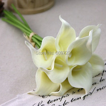EMS Free 38cm Real Touch PU 100pcs Bride Artificial Calla Lily Flower Bouquet Wedding Home Church Decor White Yellow Blue FL5048(China)