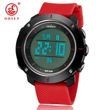 2016 New OHSEN Digital LED Men Fashion Watches 50M Waterproof Red Outdoor Sport Army Silicone Strap Wristwatch Relogio Masculino(China)