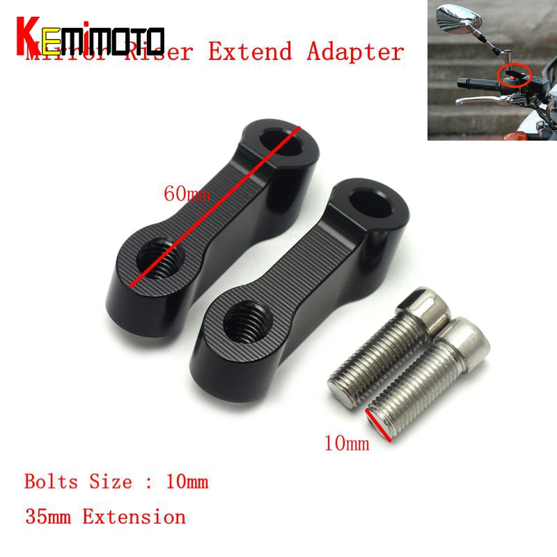 2016 New Black Mirrors Extension Riser Extend Adapter For Yamaha MT-09 MT-07 Fazer FZ-09 V-max 1700--Bolts Size 10mm<br><br>Aliexpress