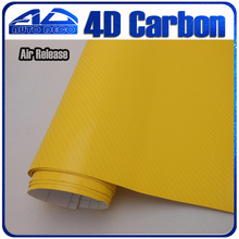 4d Carbon Fiber Vinyl Yellow Sticker Film Car Wrapping Bubble Free FedEx 30m/roll - Auto Deco Co., Ltd store