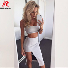 Reaqka 2017 sexy Women summer dress Bodycon 2 Two-pieces Set Bandage Dresses Celebrity Party Velvet Club Wear wholesale vestidos