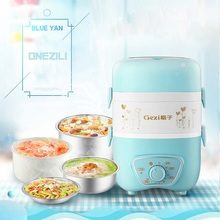 Mini Rice cooker Multifunctional 3 Layers Electric Heating Lunch Box Mini Electric Steamer Food Container Thermal Lunch Box 220V