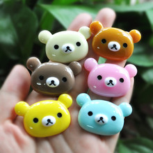 30pcs Cute Resin Cabochons  Rilakkuma Bear for Decorating   Ornament Accessory  Colour Mixed 40*26mm