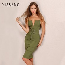 Yissang Elegant Deep V Neck Bandage Pencil Dress Army Green Backless Women Sexy Midi Dress Vintage High Waist Belt Vestidos(China)