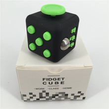 big size 3.3cm Fidget Cube Finger Toy Squeeze Fun Stress Reliever 11 Colour Click Glide Flip Spin Breathe Roll With Box