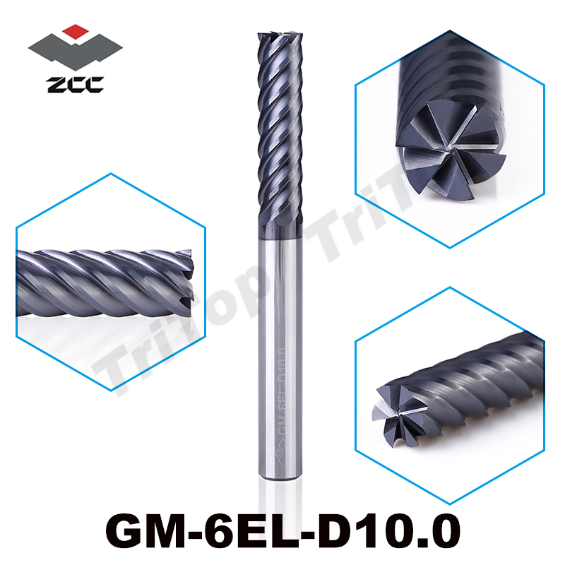 ZCC.CT GM-6EL-D10.0  6 flute flattened end mills  TiAIN coated  Cemented Carbide spiral end mills<br>