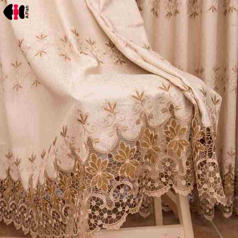 Embroidered Sheer Tulle Gauze Blind For Living Room Lotus Jacquard Pastoral Window Curtain Bedroom Wedding Room Cortinas WP318C