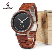BOBO BIRD WM29 Mens Wooden Watches Full Red Wood Band Fashion Brand Design Simple Life Quartz Watch For Men Accept OEM Customize(China)
