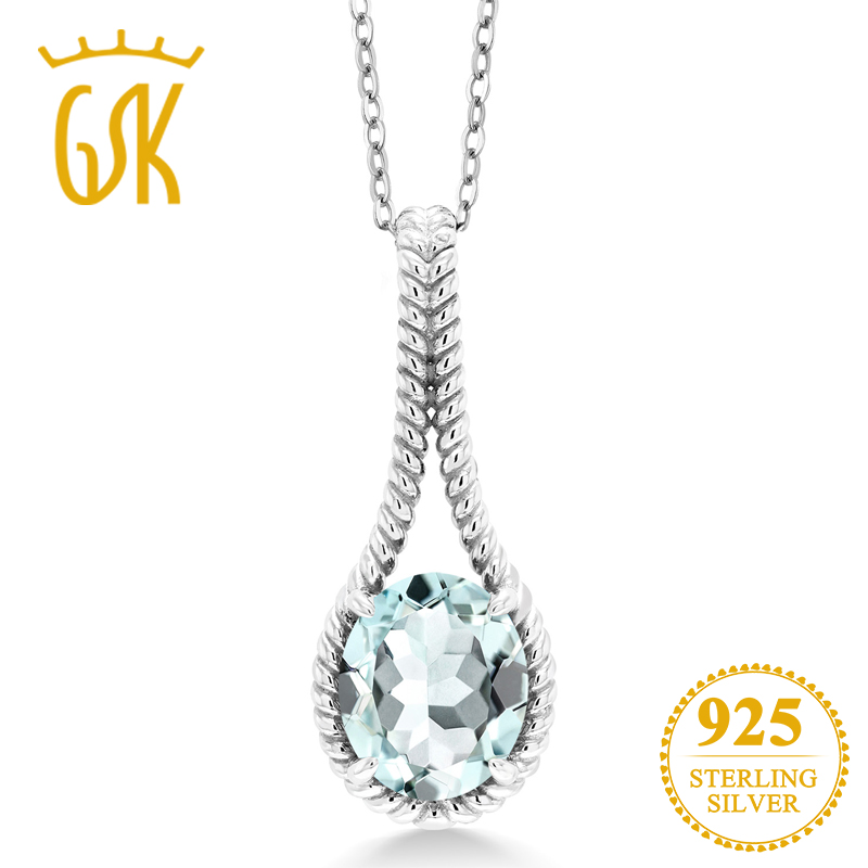 GemStoneKing 3.93 Ct Oval Sky Blue Simulated Aquamarine 925 Sterling Silver Solitaire Pendant Necklace For Women Fine Jewelry