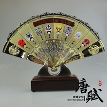 Gold - plated copper Fan Metal Ornament Craft stereo handicraft furnishing articles new vintage business gift Desktop home Decor