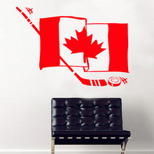 2016 New Product Canadian Flag And Hockey Wall Sticker Decals Hockey Enthusiasts Preferred Custom Home Decor 3D Vinyl Wall Art(China)