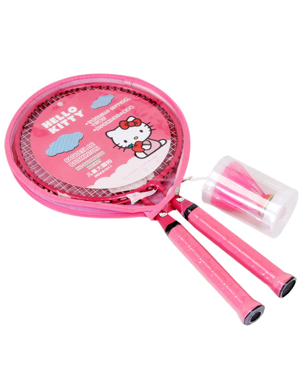 HELLO KITTY Badminton Rackets Sports cheap Kids Cartoon racket Set Training children 44cm fit 3-12 years old Badminton Rackets (1)