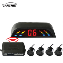 CARCHET Car Wireless LED Parking Sensor Kit 4 Sensors Car Reversing Radar System Backup Radar Monitor System DC 12V
