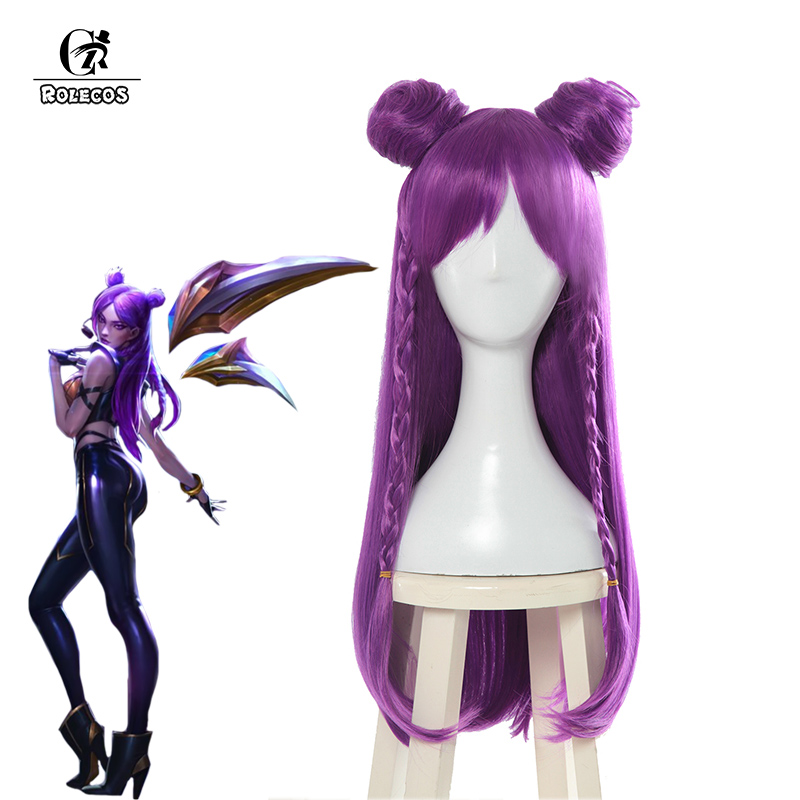 ROLECOS Game LOL KDA Cosplay Hair K/DA Kaisa Long Purple Hair New Skin Cosplay Headwear 80cm Synthetic Hair for Women