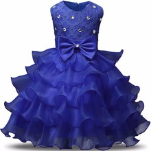 Size 7 8 Birthday Party Girls Dresses Children Ball Gown Clothing Princess Wedding Tutu Dress Kids Summer Clothes Vestido Bebes