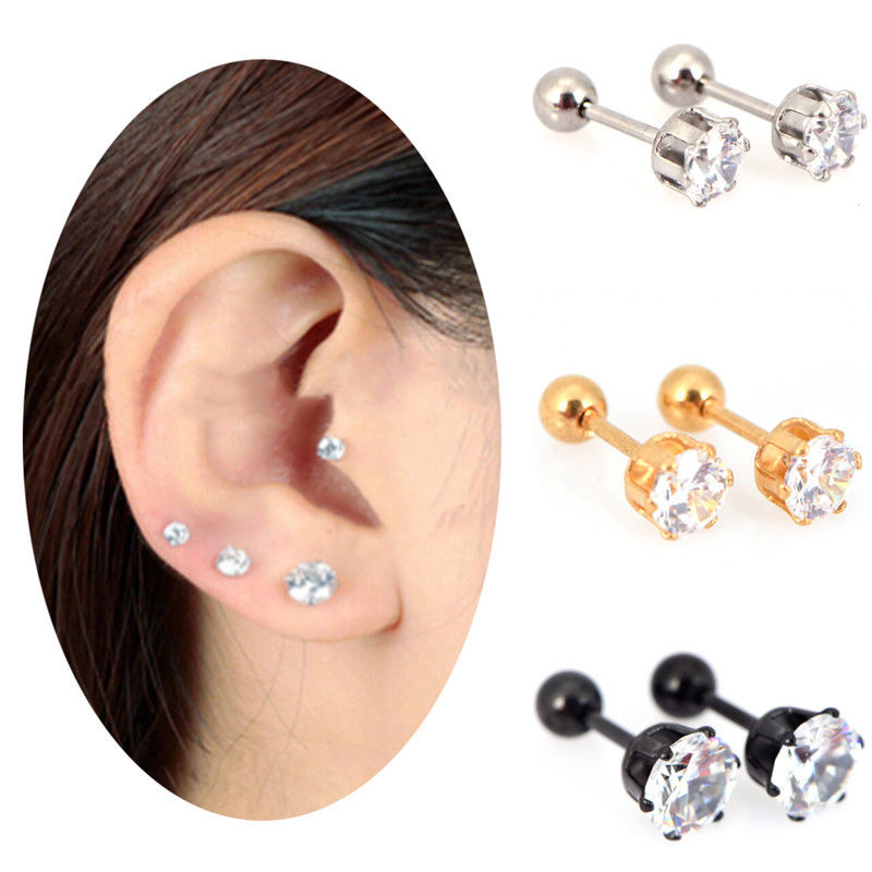 Women Anti Allergy Ear Stud Gold Silver Plated Earring Jewelry Set 1-36 Pair