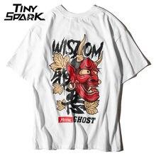 Hombres fantasma camiseta hip hop letra imprimir diablo sabiduría mens 100  algodón camiseta Harajuku negro ropa 692afd75064