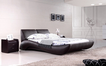 Modern bedroom furniture Genuine leather bed Queen bed furniture with Night Stand