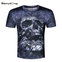 BIANYILONG Fashion Brand T-shirt Male Hip Hop 3d Print Skulls Harajuku Animation T shirt Summer Cool Tees Tops Brand Clothing