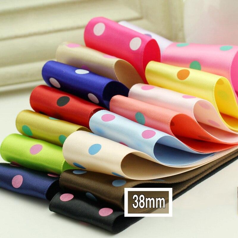 5meter/lot printed dot polyester ribbon handmade diy flower costume gift box packaging material grosgrain ribbon 38mm T-006