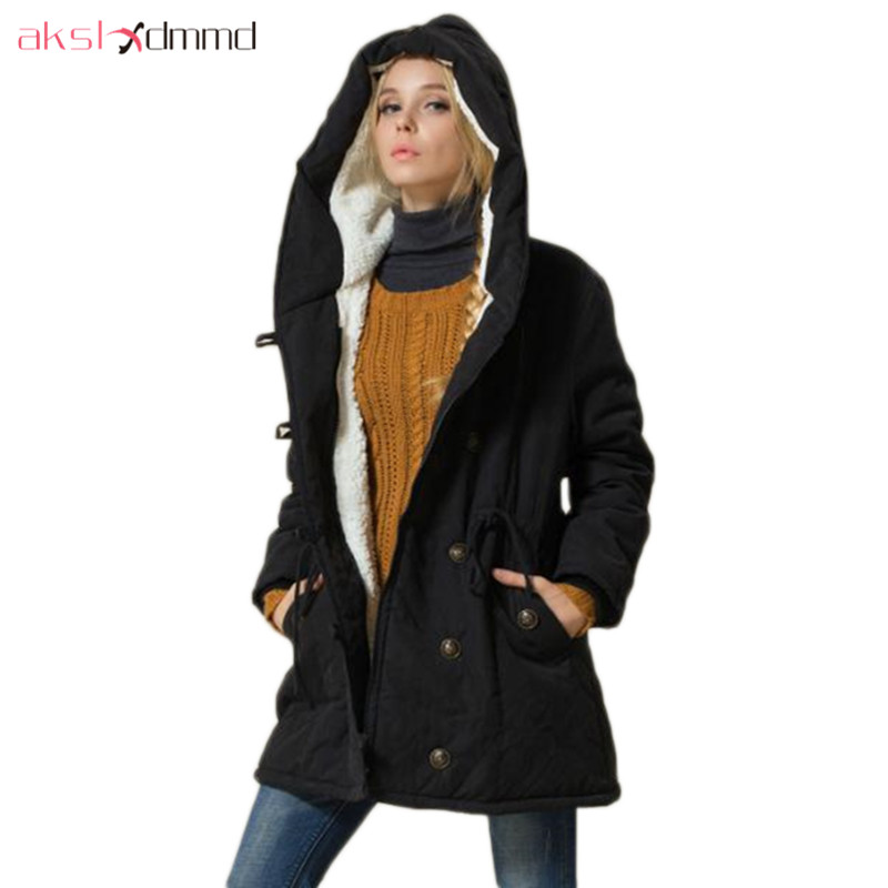 AKSLXDMMD Women Parka Casual Outwear Military Hooded Coat Plus Size 2017 New Winter Jacket Women Fur Coats Snow Wear Coat LH1091Îäåæäà è àêñåññóàðû<br><br>