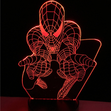 Creative Superhero Cartoon 3D Lamp LED Spider Man Night light USB colorful Mood Table Decorative Kid Room Atmosphere Desk Gifts(China)