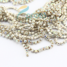 Makartt 10 Packs SS6 AB Color Crystal Chain Nail Art Decoration   Crystal Bead Chain Line Findings Nail Art Trim Craft D0750X