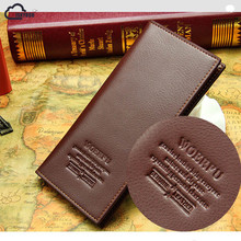 ISKYBOB Men's Faux Leather Long Fashion Wallet Purse Credit Card Checkbook Trifold(China)